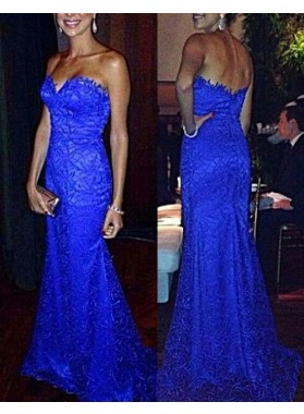 Royal Blue Sweetheart Sleeveless Zipper Sweep Train Column/Sheath Lace Prom Dresses