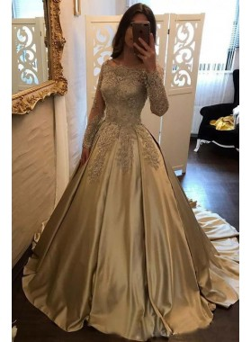 New Princess/A-Line Champagne Long Sleeves Satin Prom Dresses