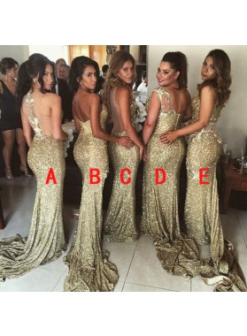 2021 Sexy Gold Sequins Mermaid Long Train Bridesmaid Dresses / Gowns