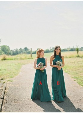 2019 Cheap A Line Teal Long High Neck Chiffon Bridesmaid Dresses / Gowns