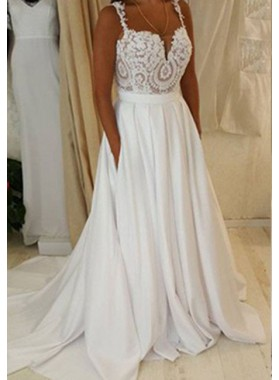 2019 Unique White Straps Lace Natural Sweep Train A-Line/Princess Chiffon Prom Dresses