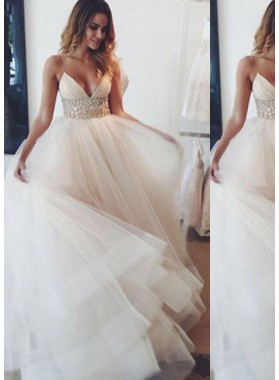 2019 Unique White Spaghetti Straps Natural Layers A-Line/Princess Tulle Prom Dresses