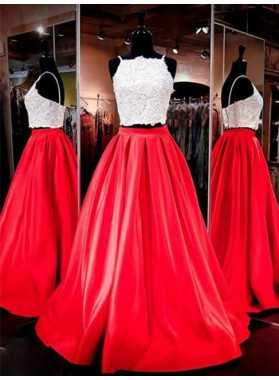 2019 Gorgeous Red Spaghetti Straps Appliques Two Pieces A-Line/Princess Satin Prom Dresses