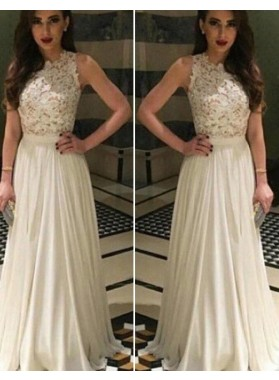 2019 Unique White Sleeveless Natural Lace A-Line/Princess Chiffon Prom Dresses