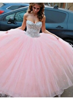 Sweetheart Sleeveless Beading Ball Gown Tulle Prom Dresses