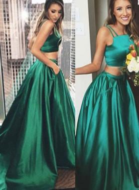A-Line/Princess Sleeveless Sweep Train Two Pieces Taffeta Green Prom Dresses