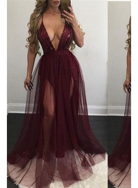 Sexy Spaghetti Straps Natural A-Line/Princess Tulle Prom Dresses