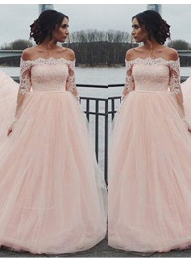 Long Sleeve Off-the-Shoulder Lace A-Line/Princess Tulle 2019 Glamorous Pink Prom Dresses