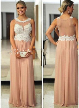 Champagne Round Neck Beading Sleeveless Floor-Length/Long A-Line/Princess Chiffon Prom Dresses