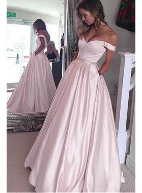 2019 Siren Princess/A-Line Satin Off The Shoulder Blushing Pink Prom Dresses
