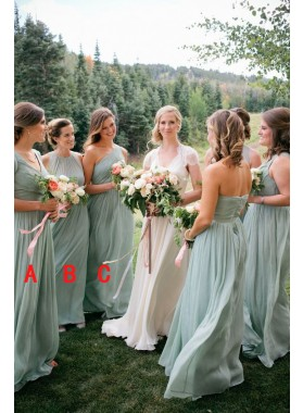 2021 New Arrival Chiffon A Line Sage Green Halter Long Bridesmaid Dresses / Gowns