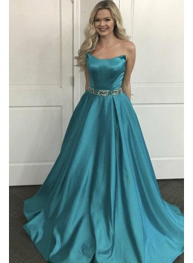 2019 Cheap Satin Princess/A-Line Prom Dresses Strapless