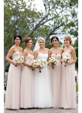 2019 Cheap A Line Tulle Pearl Pink Sweetheart Long Bridesmaid Dresses / Gowns