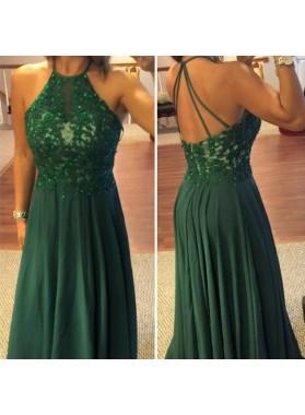 Dark Green Beading Appliques Floor-Length/Long A-Line/Princess Chiffon Prom Dresses