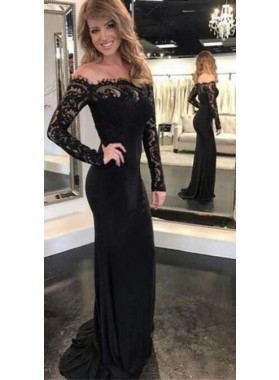 2019 Sexy Black Column/Sheath Long Sleeves Off The Shoulder Prom Dresses