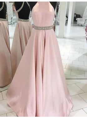 Crystal Detailing Backless A-Line/Princess Satin 2019 Glamorous Pink Prom Dresses