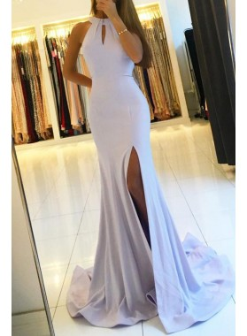 Mermaid/Trumpet Satin Side Slit Lavender Prom Dresses