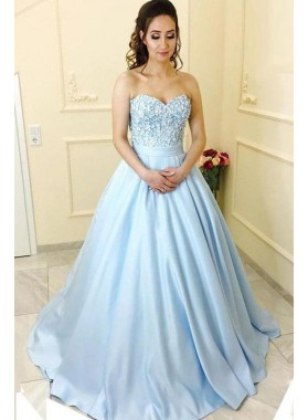 Blue Princess/A-Line Satin Sweetheart Beaded Prom Dresses