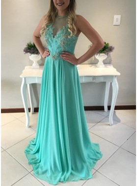 Sleeveless Natural Appliques A-Line/Princess Chiffon Green Prom Dresses