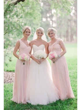 Cheap Chiffon A Line Pearl Pink 2021 Bridesmaid Dresses