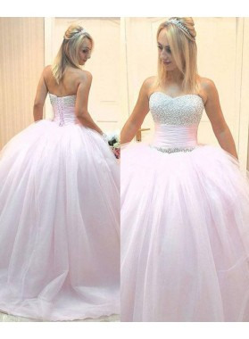 Beading Lace Up Sleeveless Sweetheart Ball Gown Tulle Prom Dresses