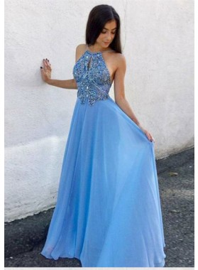 2021 Elegant Princess/A-Line Halter Backless Blue Chiffon Prom Dresses