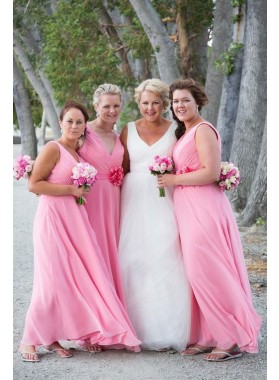 2021 A Line Chiffon Pink Bridesmaid Dresses