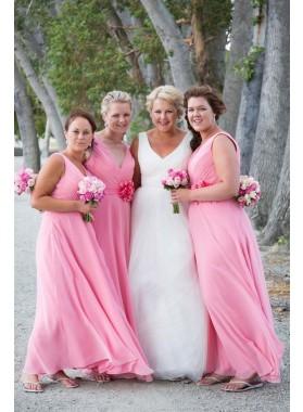 2020 A Line Chiffon Pink Bridesmaid Dresses