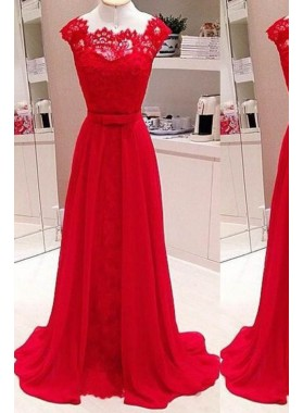 2019 Gorgeous Red Scalloped Neck A-Line/Princess Stretch Satin Prom Dresses