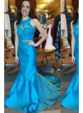 LadyPromDress 2019 Blue Appliques Halter Mermaid/Trumpet Satin Prom Dresses