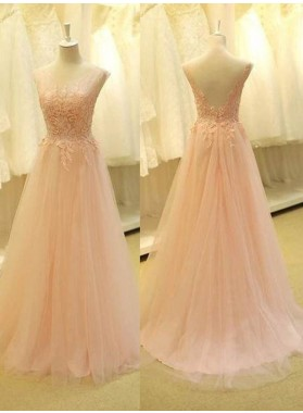 Appliques Backless A-Line/Princess Tulle 2019 Glamorous Pink Prom Dresses