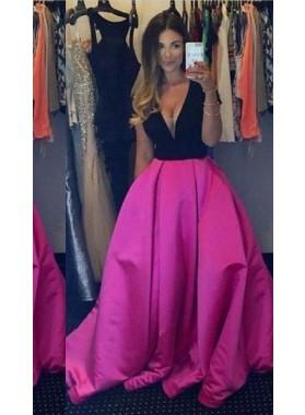 V-Neck Floor-Length/Long Ball Gown Satin Fuchsia Prom Dresses
