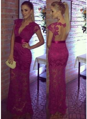 Fuchsia V-Neck Short Sleeves Column/Sheath Lace Prom Dresses