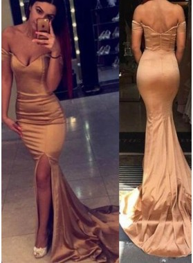 Off-the-Shoulder Side-Slit Mermaid/Trumpet Taffeta Prom Dresses
