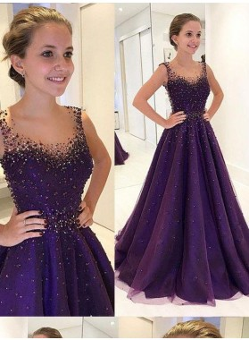 Princess/A-Line Purple Tulle Prom Dresses With Beads