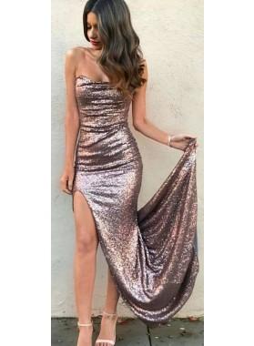 Column/Sheath Dusty Rose Sequence Side Slit Prom Dresses