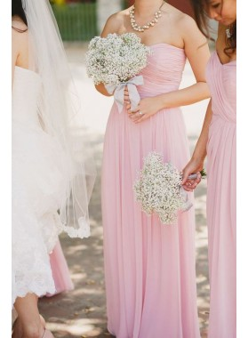 2021 Elegant A Line Pink Long Ruffles Chiffon Strapless Bridesmaid Dresses / Gowns