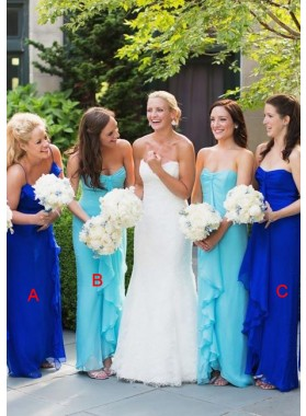 2021 Cheap A Line Royal Blue Chiffon Mint Long Bridesmaid Dresses / Gowns