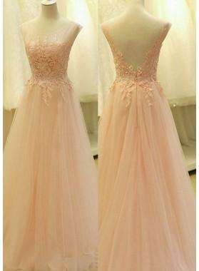 Round Neck Appliques A-Line/Princess Tulle Prom Dresses