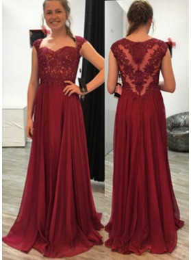 Natural Floor-Length/Long Appliques A-Line/Princess Chiffon Prom Dresses