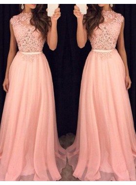 2020 Glamorous Pink Sleeveless Appliques A-Line/Princess Prom Dresses