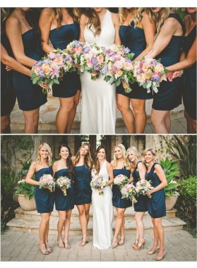 2020 Cheap A Line Short Navy Blue One Shoulder Satin Bridesmaid Dresses / Gowns