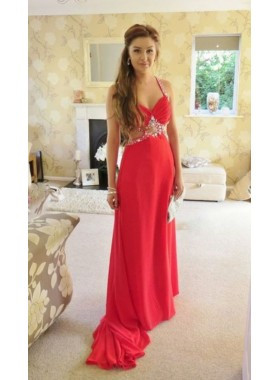 Princess/A-Line 2019 Cheap Red Halter Chiffon Prom Dresses