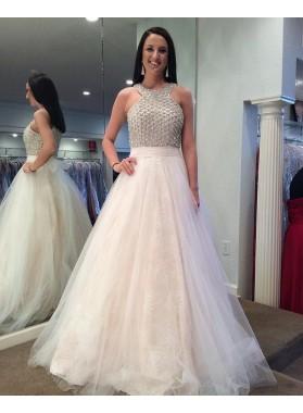 New Design White Tulle Beaded Prom Dresses