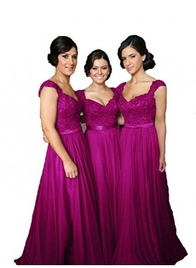 2020 A Line Fuchsia Long Sweetheart Bridesmaid Dresses With Appliques