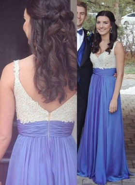 Appliques V-Neck Stretch Satin Royal Blue Prom Dresses