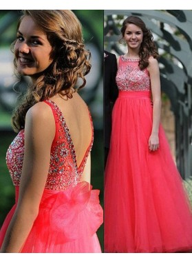2018 Gorgeous Red Crystal Backless A-Line/Princess Tulle Prom Dresses
