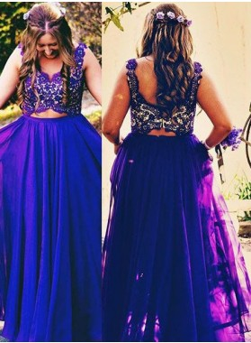 Prom Dresses Straps Lace Sleeveless A-Line/Princess Chiffon
