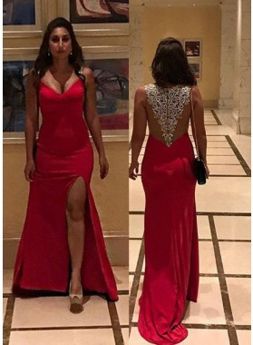 2018 Gorgeous Red Appliques Front-Slit Satin Prom Dresses