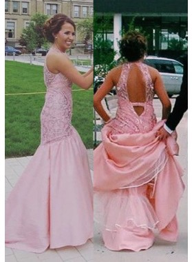 Beading Mermaid/Trumpet Satin Prom Dresses